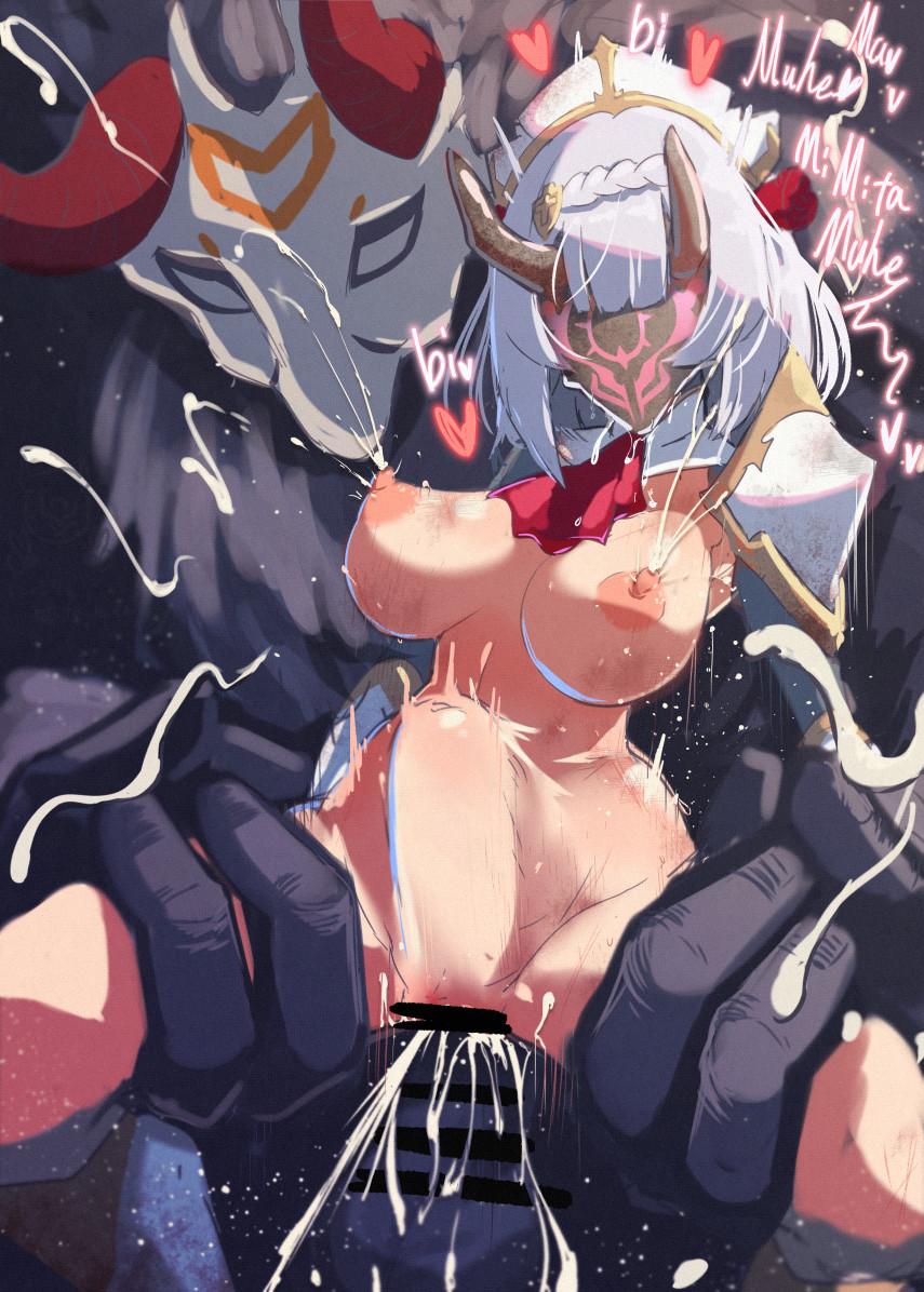 [NO TEXT - ARTIST CG] Calpish ~ 洗脳パワーを持つヒルチャールの仮面を付けられたノエル Hentai